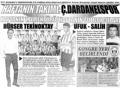 Haftanın Takımı Çanakkale Dardanelspor